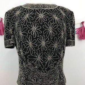 Papell Boutique Evening Beaded Blouse Sz-L